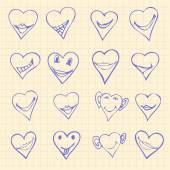 Collection of different heart symbols doodle, Different emotions — Stock Vector