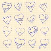 Collection of different heart symbols doodle, Different emotions — Vetor de Stock