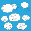 Cute doodle of sky elements: sun, clouds. Vector illustration — Stock Vector #65734719