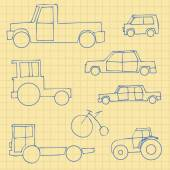 Vector Set of Sketch Transportation Icons — Stock Vector