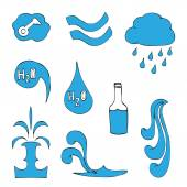 Set of Water Icons. Vector illustration. Isolated on white — Stock Vector