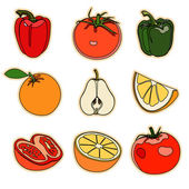Collection of a set of cute vector illustration fruits and veget — Stock Vector