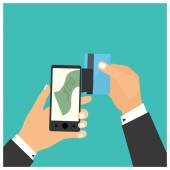 Flat design style vector illustration. Smartphone with processin — Stock Vector
