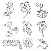 Serie di schizzi di fiori — Vettoriale Stock