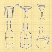 Set of hand drawn glass bottles, sketch, ink drawing vector illu — Stock Vector
