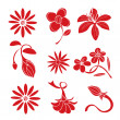 Set of red flower design elements — Stock Vector #69577581