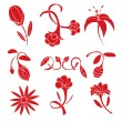 Set of red flower design elements — Stock Vector #69577659