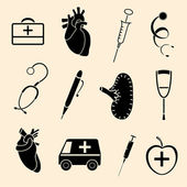 Set flat human organs icons illustration concept. — Vetor de Stock