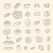 Set of sketch bakery items. Vector illustration — Stock Vector