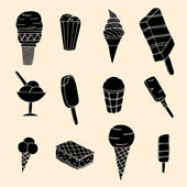 Collection of cute vector hand drawn cartoon ice cream. Cones an — Stock Vector