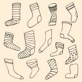 Set of different socks in circle. Round shape made of hand drawn — Stock vektor