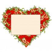 Paper sticker on strawberry heart. — Wektor stockowy