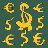 Dollar and Euro — Stock Vector