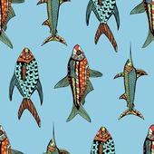 Dikişsiz desen balık — Stok Vektör