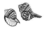 Hand dras seashell — Stockvektor
