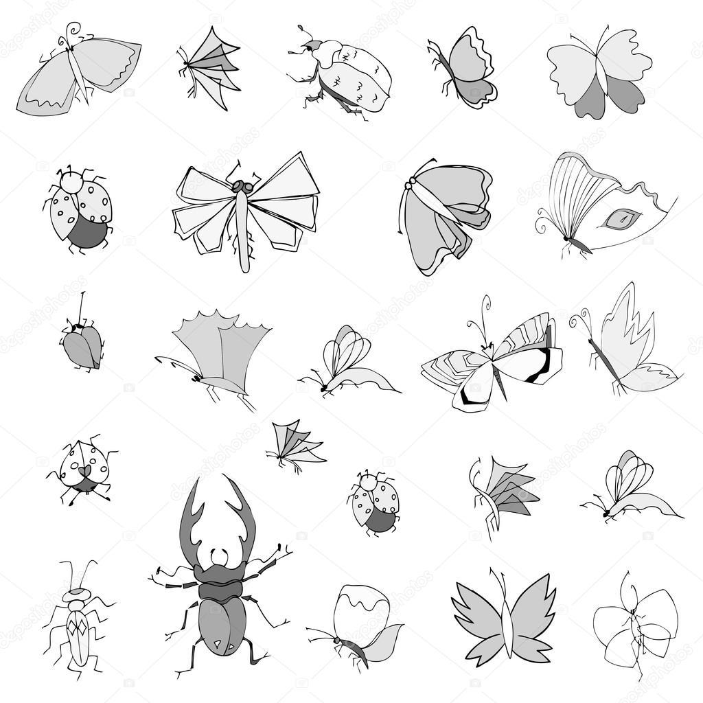 sammlung von hand zeichnen insekten — stockvektor