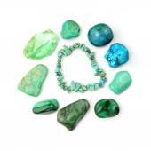Turquoise Bracelet And Semi-precious Gemstones — Stock Photo