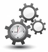 Business time management, clock with cogwheels, vector, — Vettoriale Stock