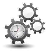 Business time management, clock with cogwheels, vector, — Stok Vektör
