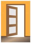 Puerta abierta, diseño clásico, con cerradura, vector eps10 — Vector de stock