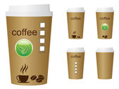 A green coffee cup vector illustration with the words coffee and eco sign — Vettoriale Stock