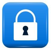 White padlock on blue button, vector icon, eps10 — Stock Vector