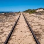 Steel Railroad Tracks on Sand Beach — Stock Photo #57535417