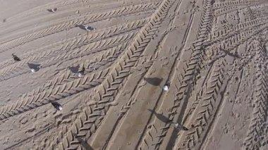 Many Footprints on Beach — Stock Video