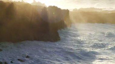 Atlantic Ocean Breaking onto Rocks — Stock Video