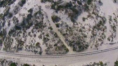 Railway road on beach — Stockvideo
