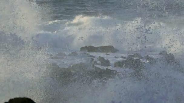 Atlantic Ocean Breaking onto Rocks — Vidéo