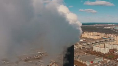 Flight Downward near with Pipe District Power Plant, aerial view closeup — Stock Video