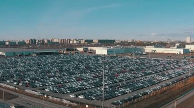 Flying Above Storage Parking Lot of New Unsold Cars, aerial view — Stock Video