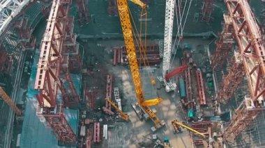 Aerial Shoot Football Stadium Under Construction, top view — Stockvideo