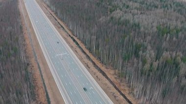 Flying Above Highway with Traffic Cars, aerial view — Stock Video
