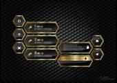 Golden Hexagons — Stock Vector