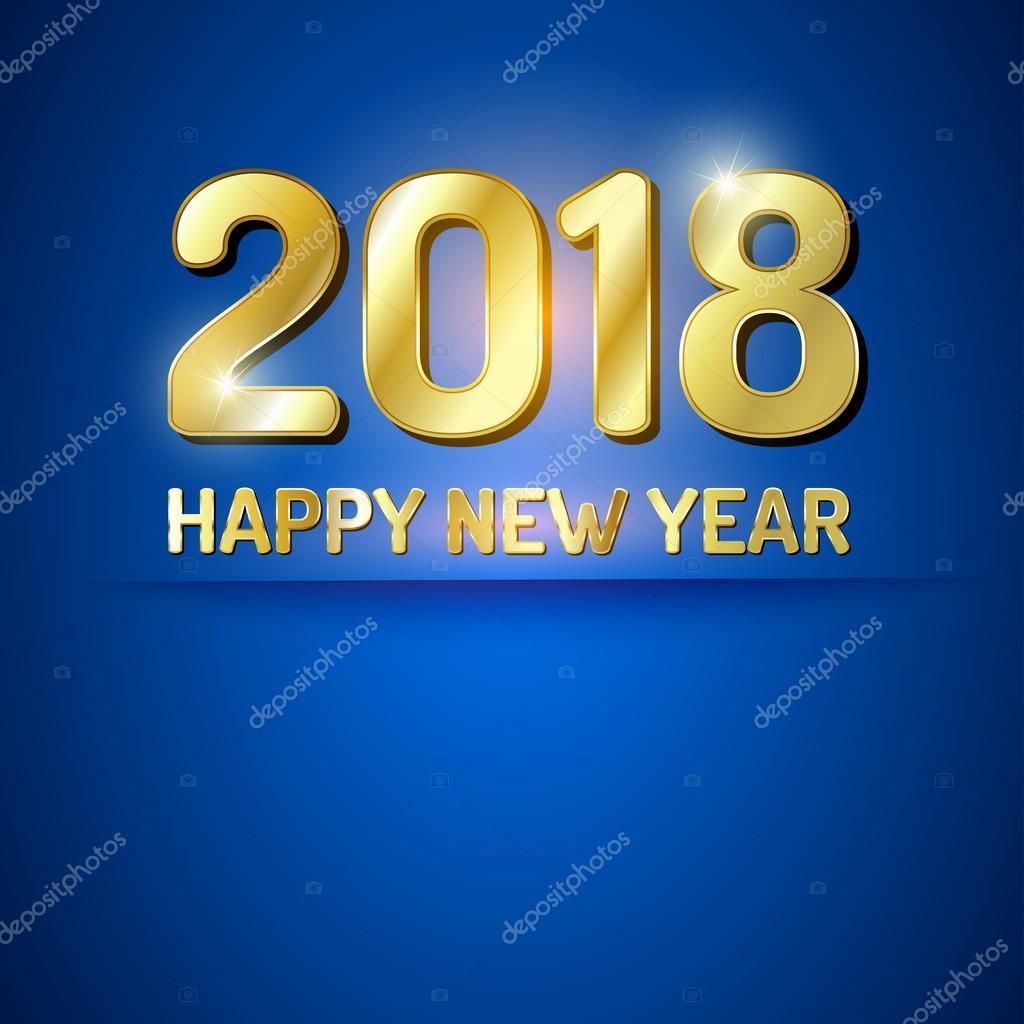 新的一年 2018 的蓝色和金色的贺卡– 图库插图