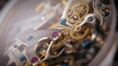 Wristwatch mechanism close up — Stock Video