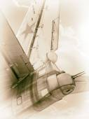Old Soviet bomber in clouds — Stock Photo