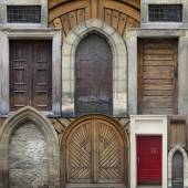 Abstract collage of old doors — Stock Photo