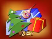 Christmas tree and Christmas presents — Stock Photo