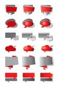 Red and grey speech bubbles — Stock Vector
