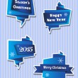 Origami Christmas banners in blues — Stock Vector #58161183