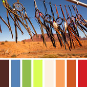 Hand crafted Native American dreamcatchers — Stock Photo