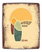 Surf shop tin poster — Stock Vector