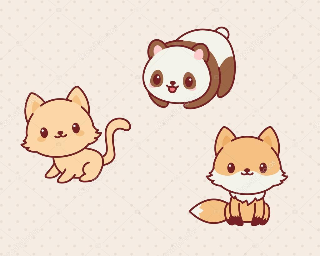 Conjunto de animales kawaii \u2013 Ilustración de Stock