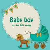 Baby shower blue card for boys — Vettoriale Stock