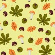 Seamless chestnuts wallpaper with leaves and mushrooms — Stock Vector #54221171