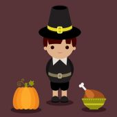 Thanksgiving pilgrim with pumpkin and roasted turkey — Stock Vector