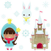 Princess design elements. Winter time — Stockvektor